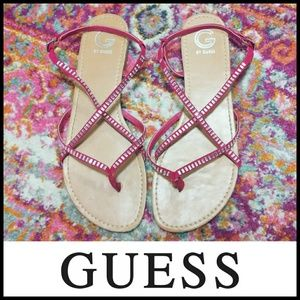 Guess Pink Strappy Gladiator Style Sandals